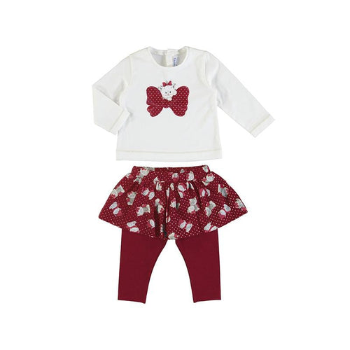 MAYORAL TODDLER RED KITTY SKIRT LEGGING SET