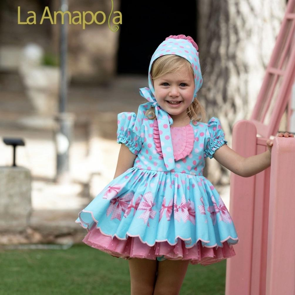 LA AMAPOLA BOWS BABY DRESS