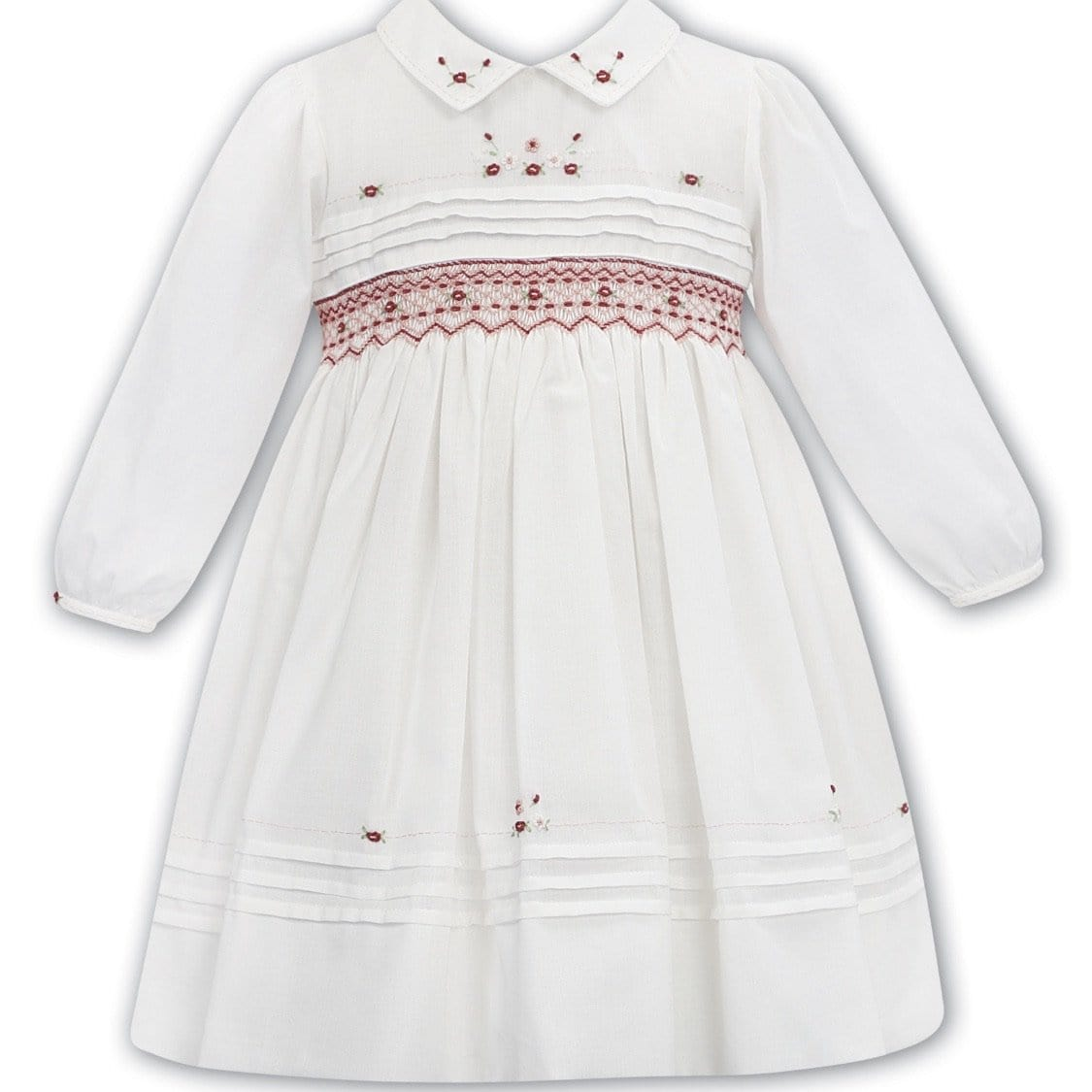 SARAH LOUISE WHITE / RED SMOCKED DRESS WINTER