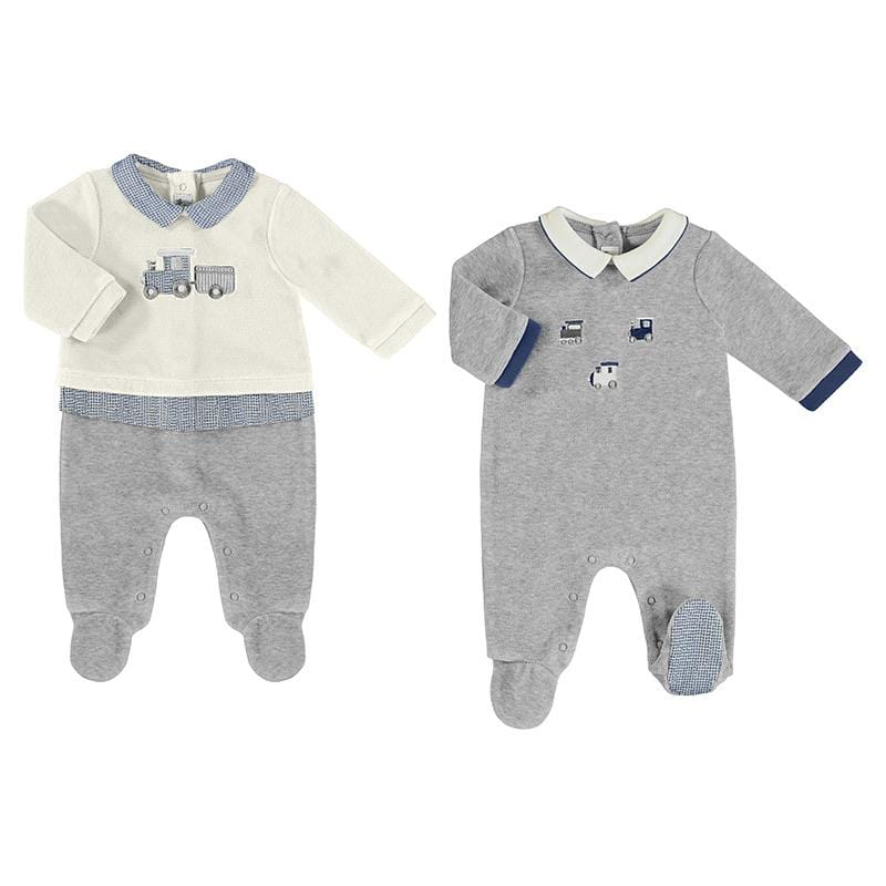 PREORDER MAYORAL  GREY TRAIN BABYGROW 2 PACK