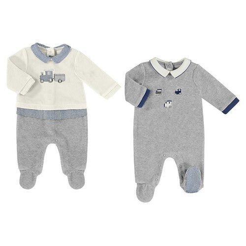 MAYORAL GREY TRAIN BABYGROW 2 PACK