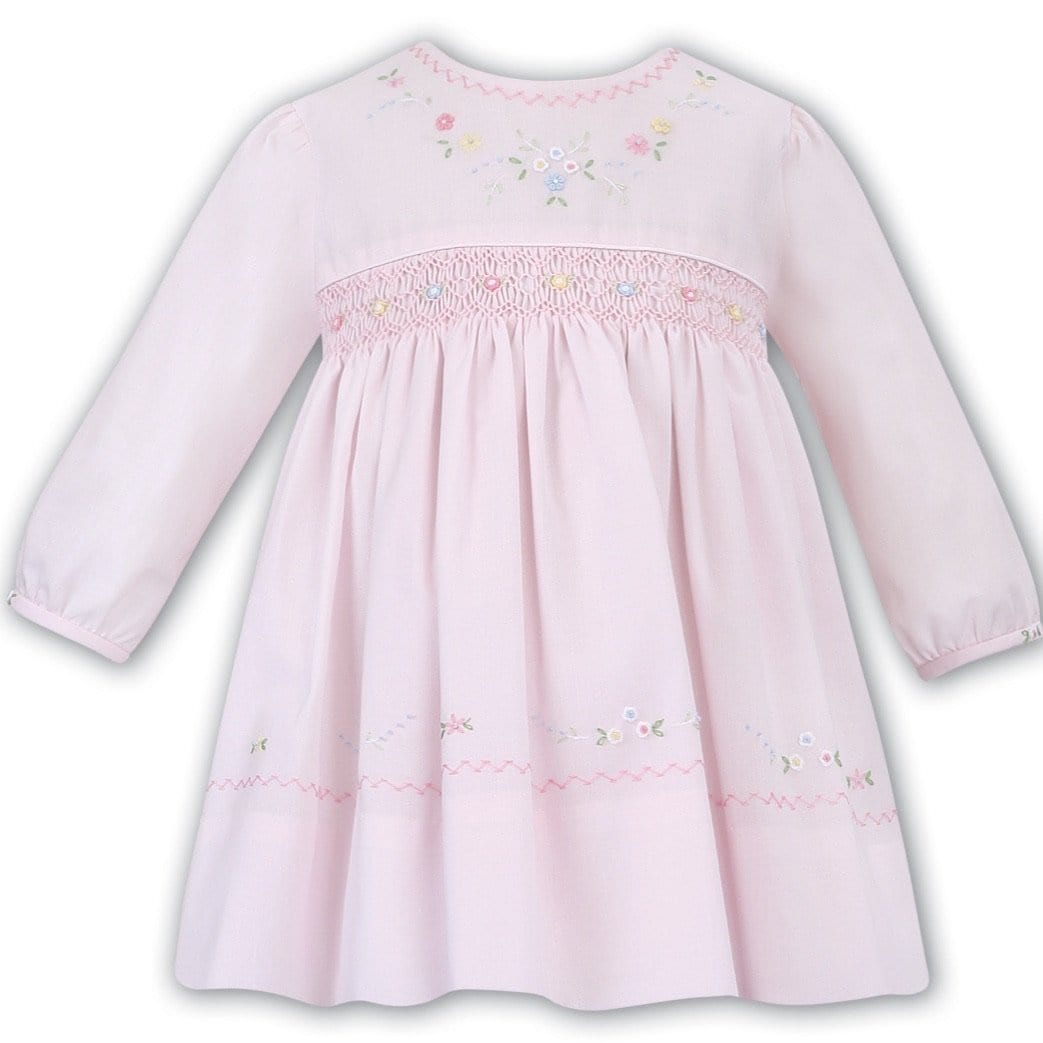 SARAH LOUISE PINK SMOCKED DRESS WINTER 011647