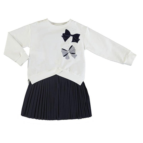 MAYORAL NAVY BOW DRESS WITH PULLOVER TOP