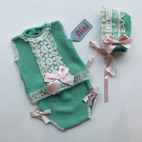NINI MINT GREEN & BABY PINK THREE PIECE KNIT SET