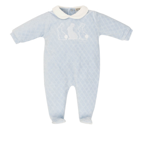 EVERYTHING MUST CHANGE VELOUR BUNNY BABY BLUE BABY GROW