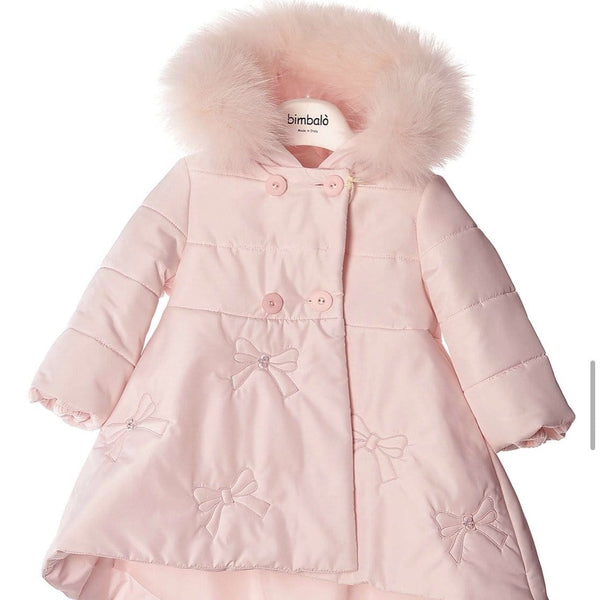 BIMBALO PINK BUTTON BOW COAT