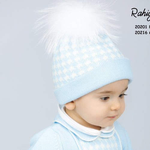RAHIGO BABY BLUE DOG TOOTH HAT & SCARF SET