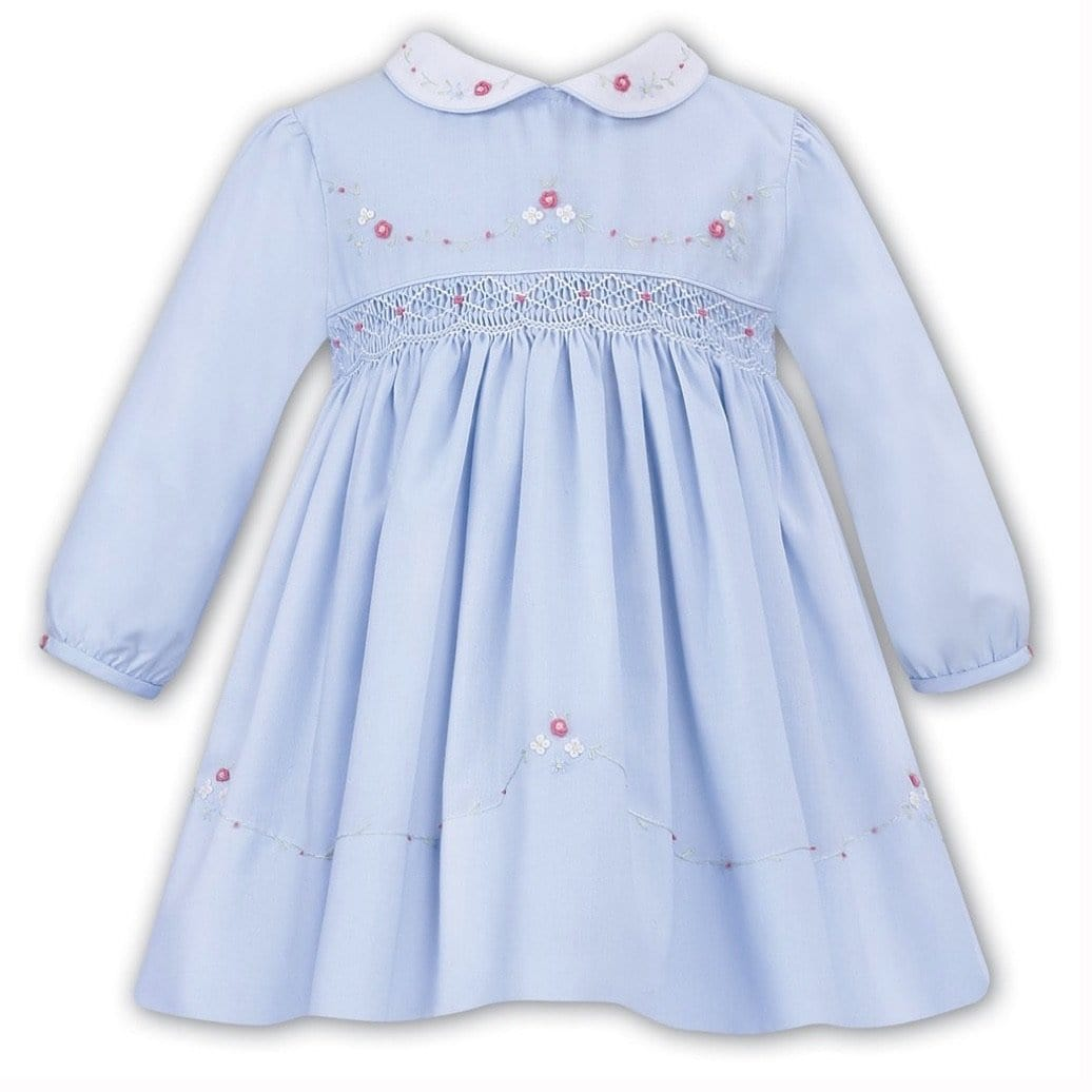 SARAH LOUISE BLUE SMOCKED DRESS WINTER 011637