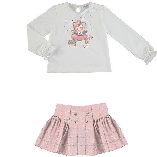 PREORDER MAYORAL PUPPY TOP & PINK SKIRT