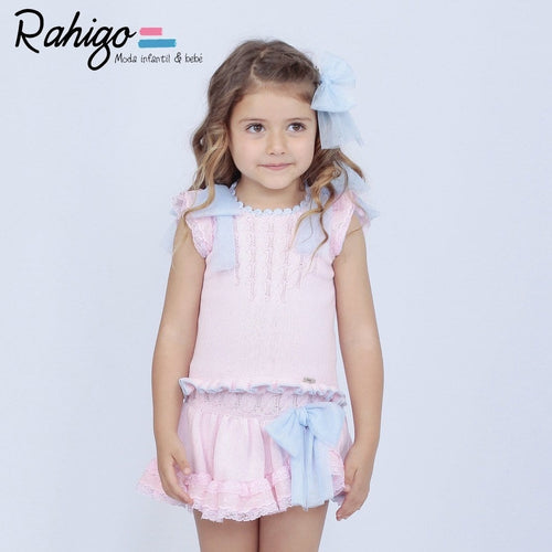RAHIGO LOLA BABY PINK WITH BABY BLUE THREE PIECE SET INCLUDING SOCKS