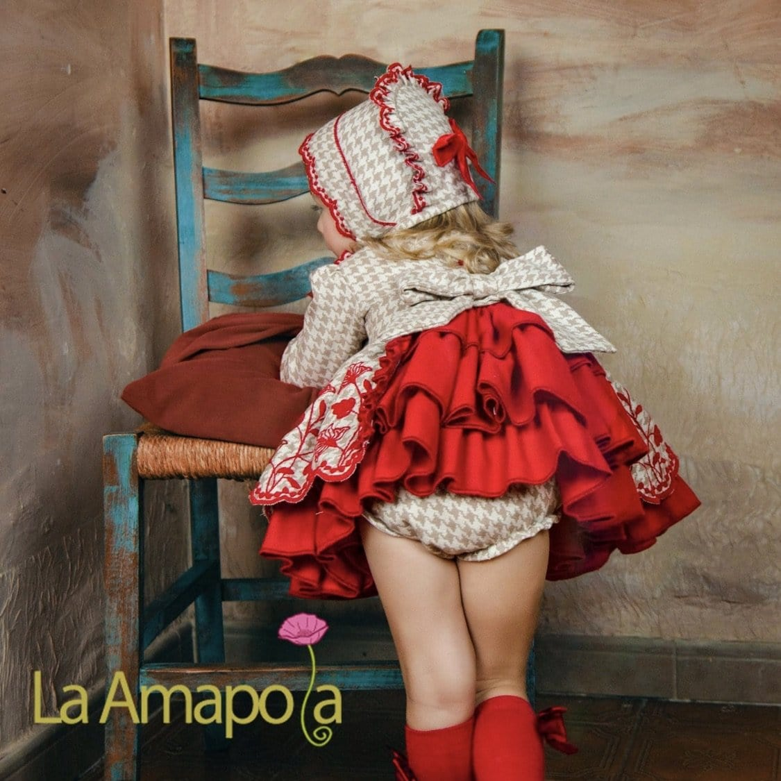 LA AMAPOLA DIVINE RED BABY DRESS & BONNET