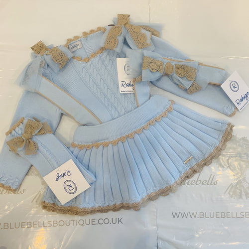 RAHIGO PINAFORE SET  BABY BLUE WITH CAMEL TRIM INCLUDING HAIRBAND & SOCKS