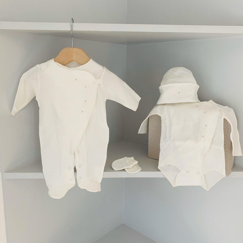 SOFIJA CREAM DIAMANTÉ DETAIL FOUR PIECE BABYGROW SET