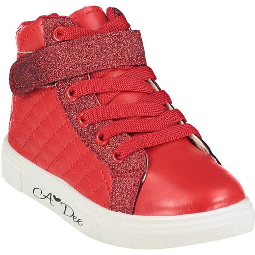 A DEE QUILTED HIGH TOP TRAINER RED