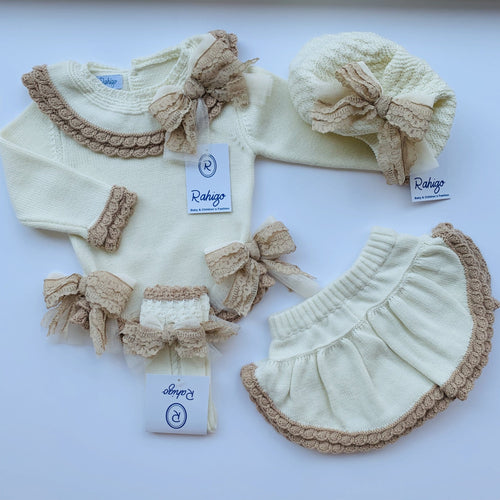RAHIGO LOTTIE CREAM WITH CAMEL TRIM FOUR PIECE SET