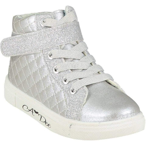 A DEE QUILTED HIGH TOP TRAINER SILVER