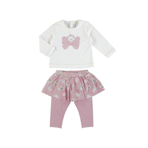 PREORDER MAYORAL TODDLER PINK KITTY SKIRT LEGGING SET
