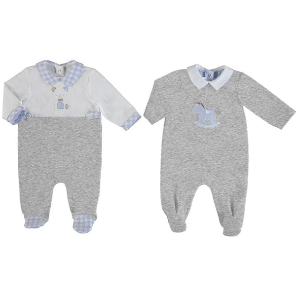 MAYORAL - Teddy Babygrow 2 Pack - Grey