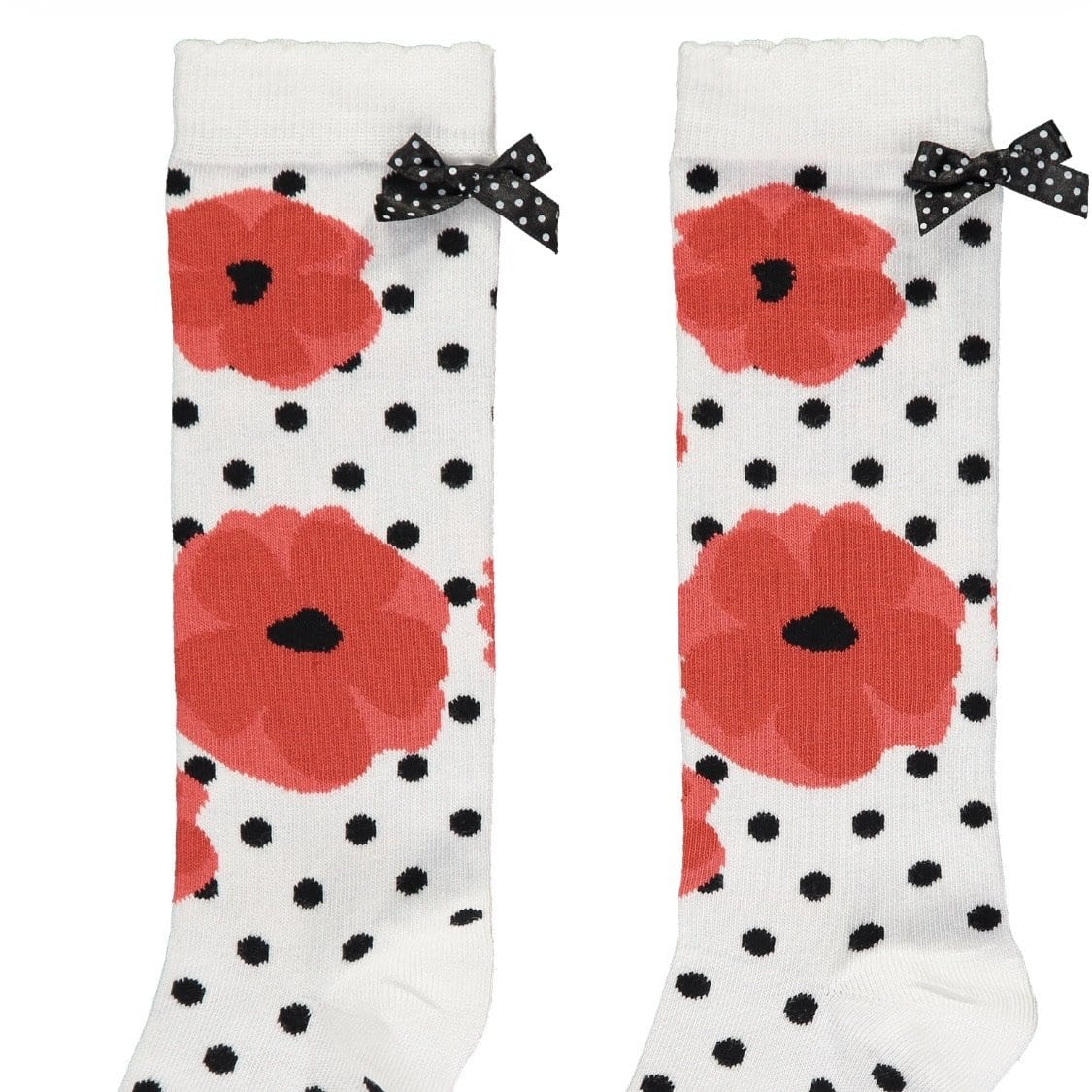 A Dee - Knee High Socks - White/Red