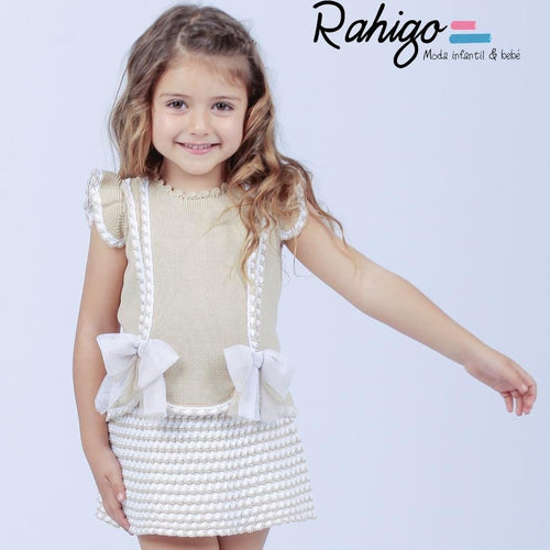 RAHIGO CAMEL / WHITE VALENTINA  TWO PIECE SET
