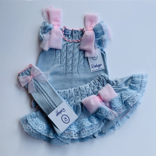 RAHIGO LOLA BABY  BABY BLUE WITH PINK TRIM THREE PIECE SET INCLUDING SOCKS