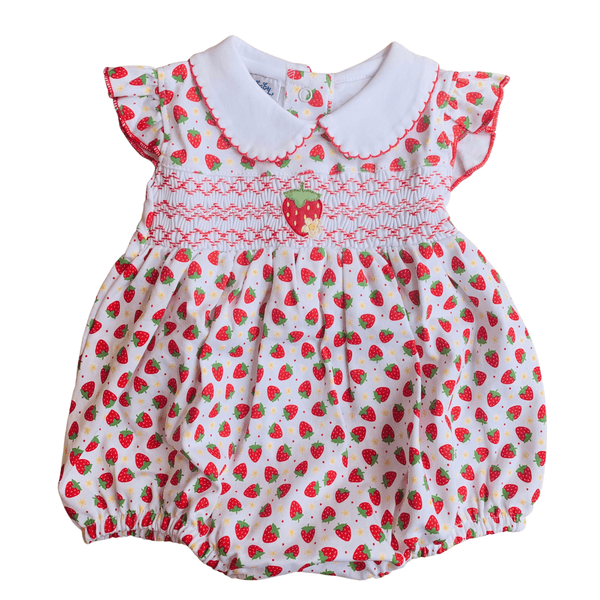 MAGNOLIA BABY - Fresh Strawberries Smocked Romper - Red