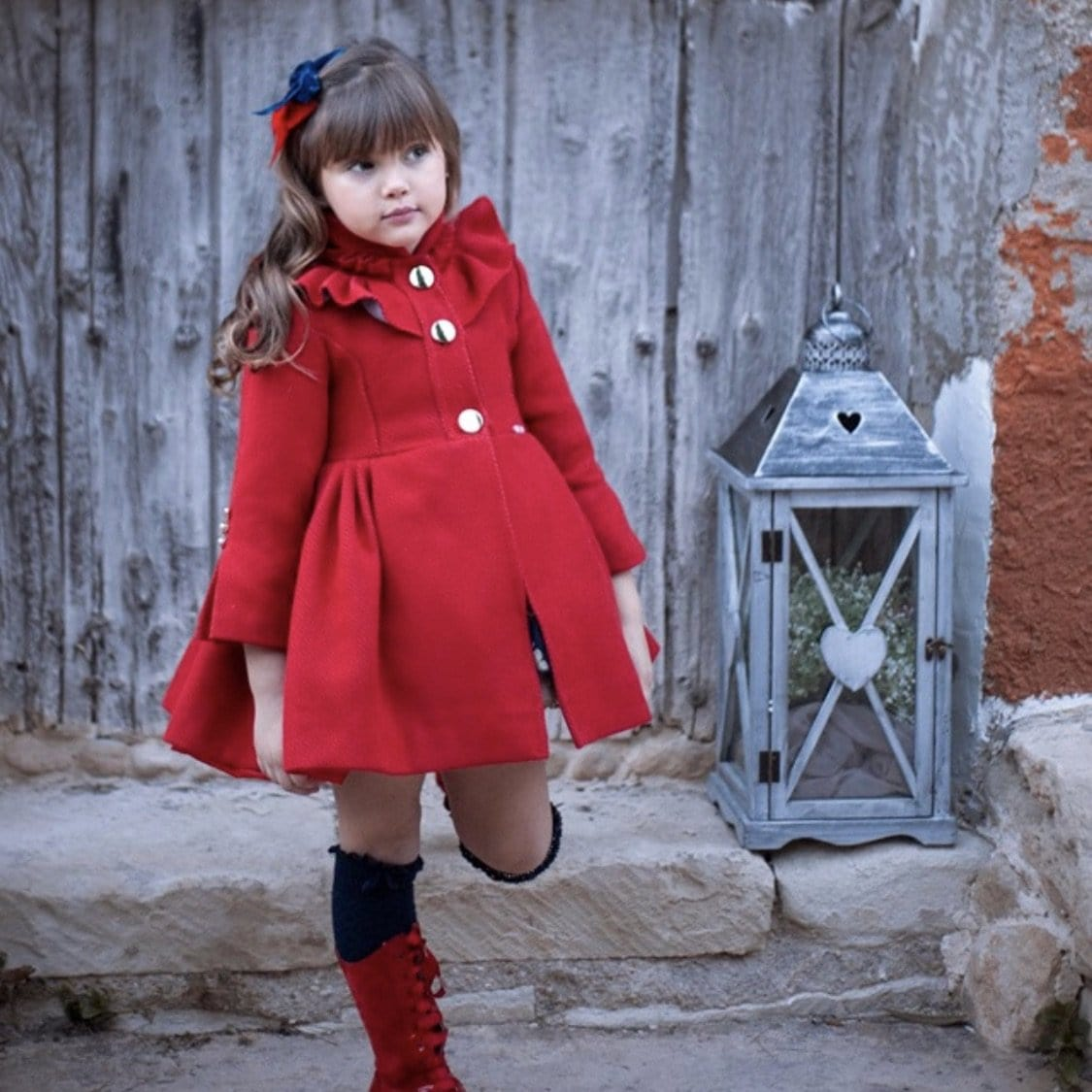LA AMAPOLA RED PUFFBALL COAT