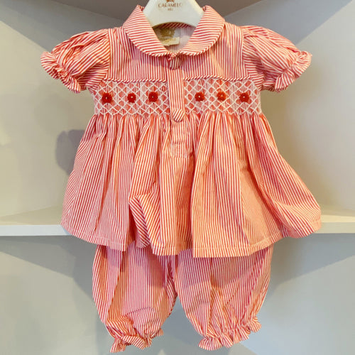 CARAMELO KIDS CANDY STRIPE RED BABY SMOCKED TWO PIECE