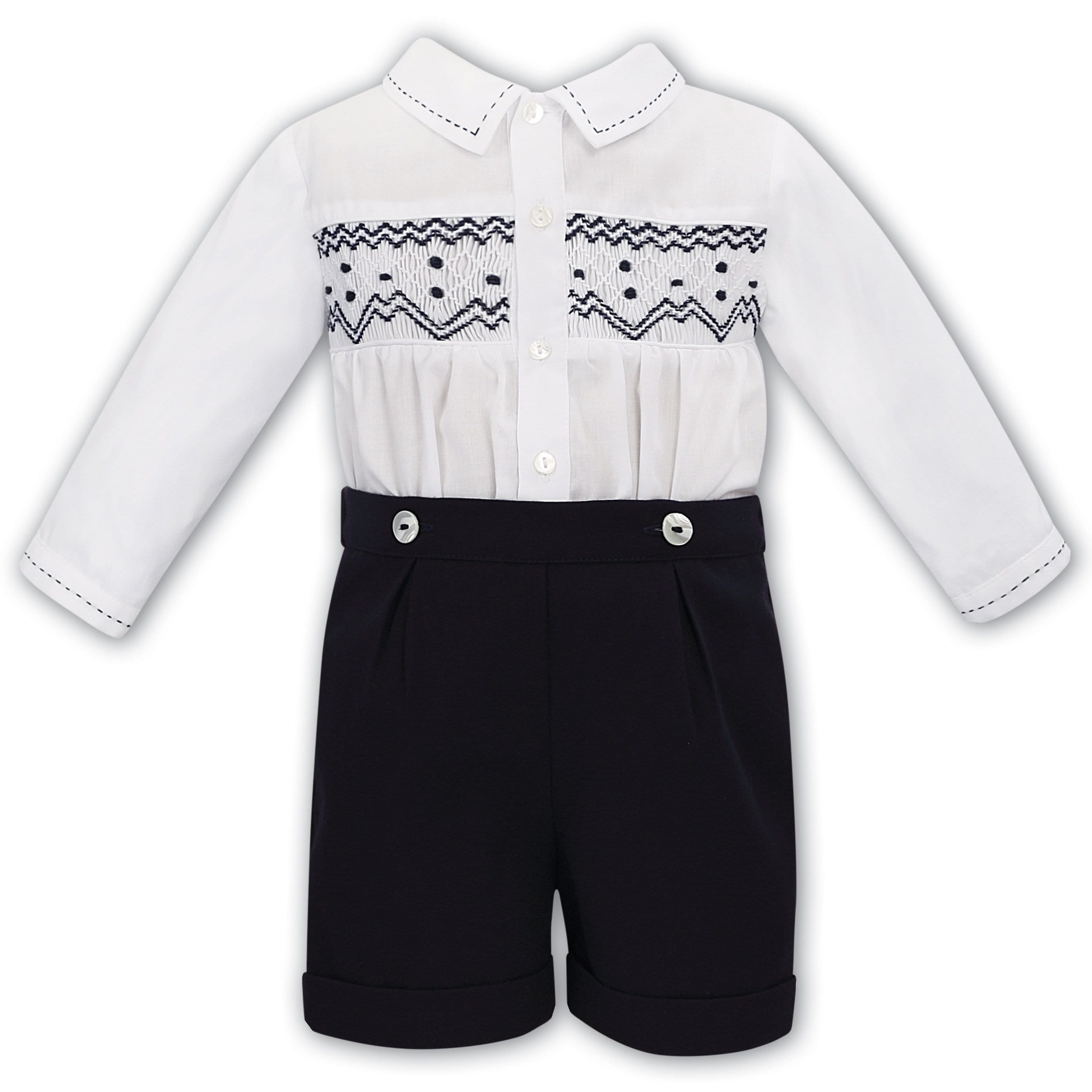 SARAH LOUISE  BOYS SMOCKED NAVY SET