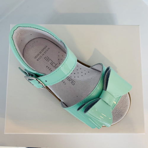 ANDANINES MINT LEATHER PATENT SANDALS