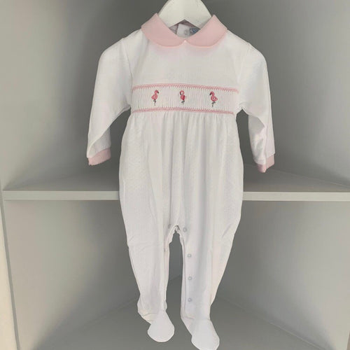 MINI-LA-MODE  FLAMINGO SMOCKED FOOTSIE