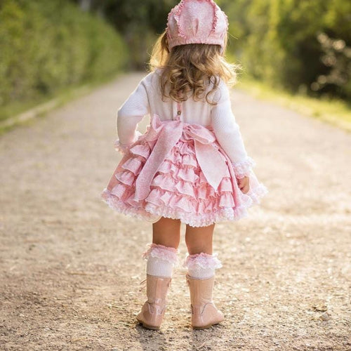 PRE ORDER BABY PINK RUFFLE DRESS INCLUDES BONNET & SOCKS