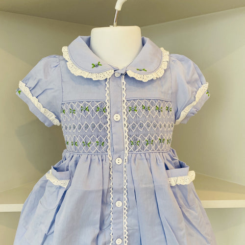 LUCY LOCKET SMOCKED BABY BLUE DRESS