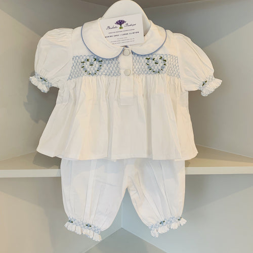 HANDMADE SMOCKED BLUE LOVE HEART PJ'S