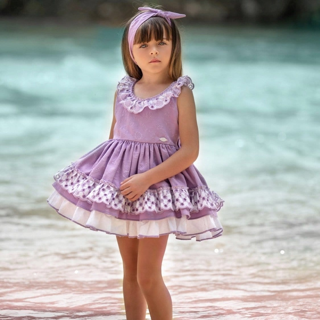 LA AMAPOLA PARADISE LILAC PUFFBALL DRESS