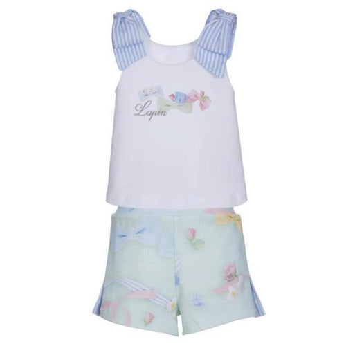 LAPIN HOUSE PASTEL BOW TOP & SHORT SET