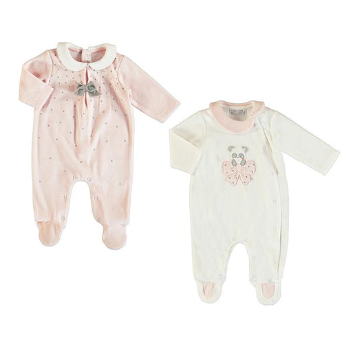 MAYORAL BABY ROSE VELOUR BABYGROWS 2 PACK