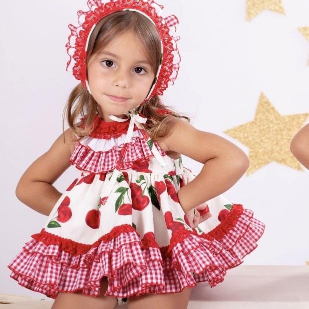 NINI CHERRY BABY DRESS WITH BONNET