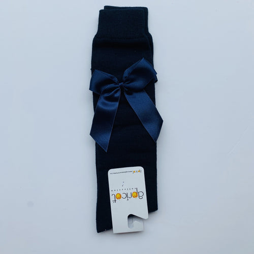 APRICOT NAVY OVER KNEE  BOW SOCKS