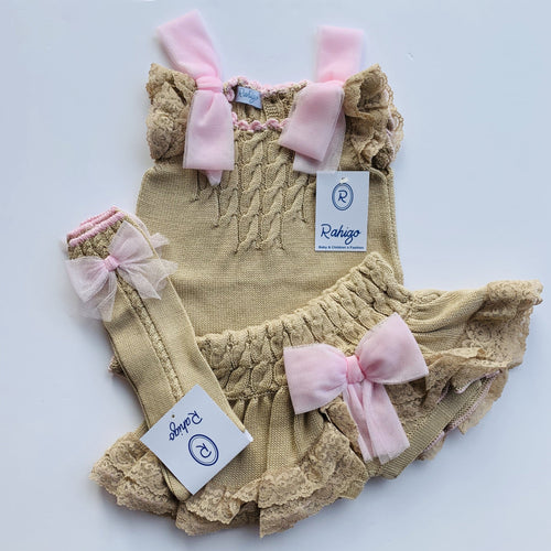 RAHIGO LOLA CAMEL WITH PINK TRIM THREE PIECE SET INCLUDING SOCKS