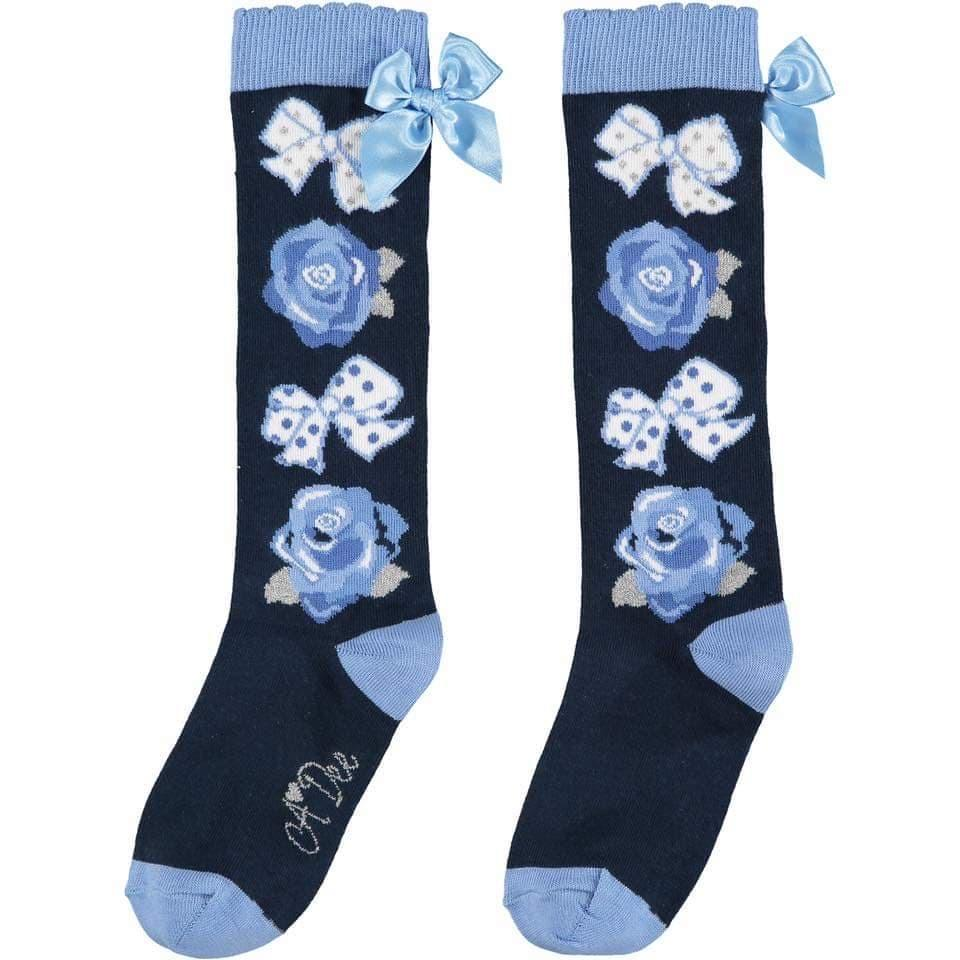 A DEE NAVY BOWS & ROSES KNEE HIGH SOCKS W202931