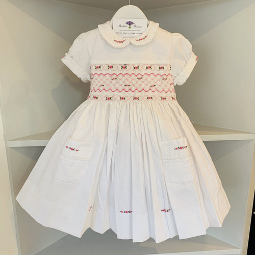 HANDMADE SMOCKED WHITE ROSE DRESS