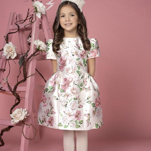 EIRENE WHITE ROSE PRINT DRESS WITH SWAROVSKI CRYSTALS