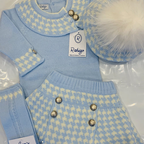 PRE ORDER RAHIGO JESSICA BABY BLUE DOG TOOTH FOUR PIECE SET