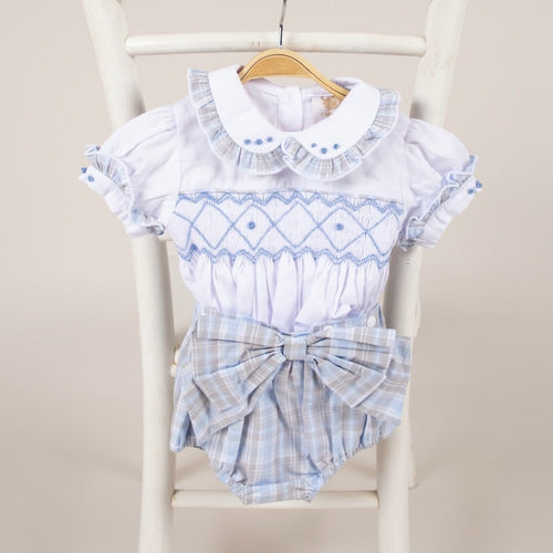 CARAMELO KIDS BLUE SMOCKED SET