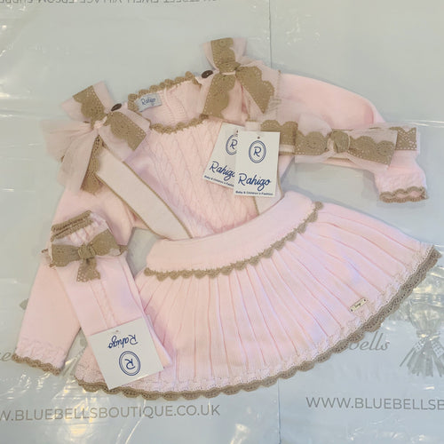 RAHIGO PINAFORE SET  BABY PINK WITH CAMEL TRIM INCLUDING HAIRBAND & SOCKS