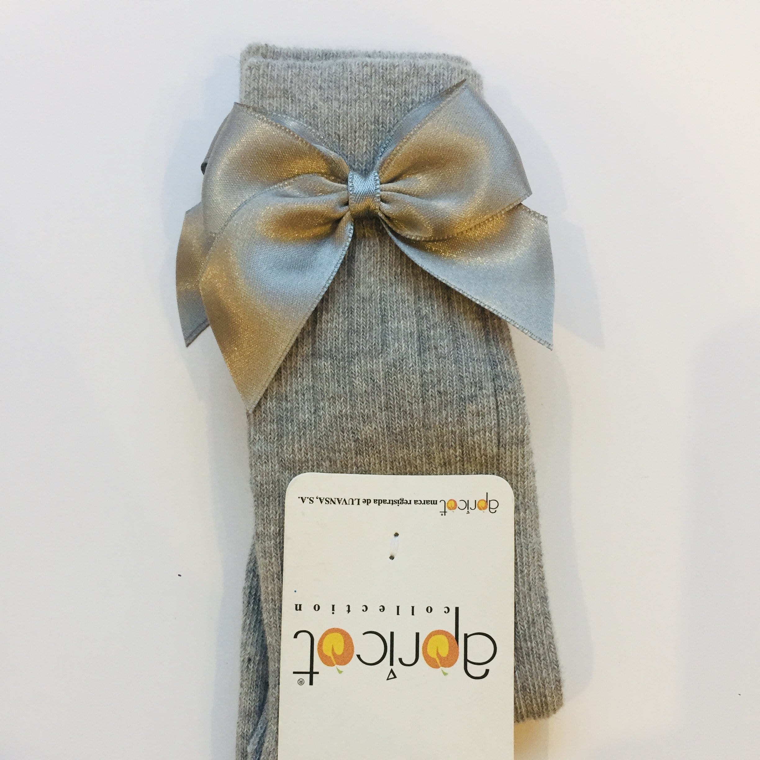 APRICOT GREY KNEE HIGH BOW SOCKS