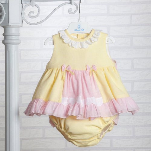 DULCE NENA LEMON/ PINK BABY DRESS