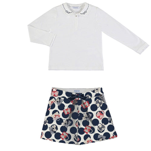 PREORDER MAYORAL NAVY DIAMANTÉ PETER PAN COLLAR TOP WITH SHORTS