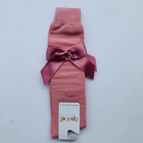 APRICOT DUSKY PINK OVER KNEE  BOW SOCKS